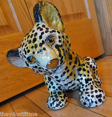 Vintage Estate 80s Italian Pottery Cheetah Cub Figurine Made in ITALY No Chips