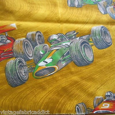 63x120 YELLOW RACE CARS 1960S CLASSIC VINTAGE COTTON CURTAIN FABRIC NOVELTY KIDS