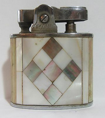 Vintage Rodan Lighter With Mother Of Pearl Mosaic Design, Made In Japan, Works