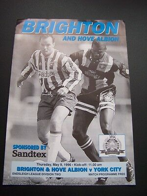 Brighton & Hove V York City 09/05/1996 Replayed Game  Programme