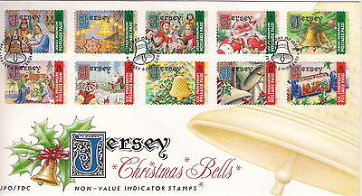 JERSEY 2001 CHRISTMAS BELLS SET OF 10 on FIRST DAY COVER