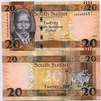 South Sudan 20 Pounds 2015 / 2016 P New Color Aunc About Unc