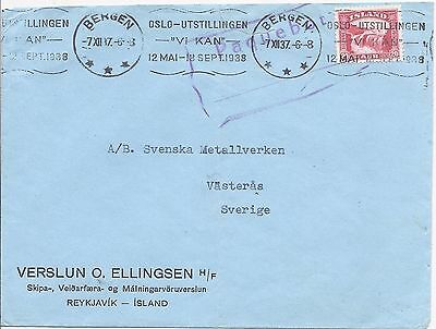 Iceland Norway 1937 Bergen Paquebot cover to Sweden