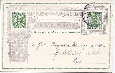 Iceland 1920 5a green stationery card used locally with printed message