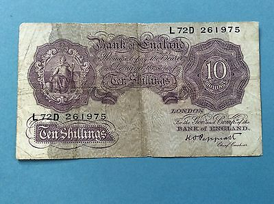 Bank Of England Peppiatt Emergency Issue 10 Shillings 1940-1948