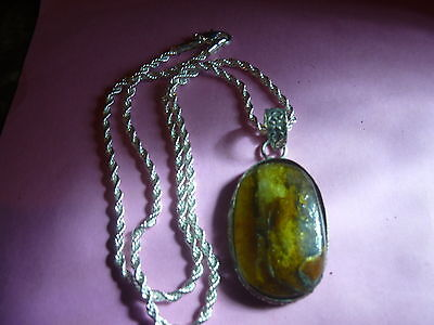 Top quality 925 solid sterling silver large man made Amber pendant