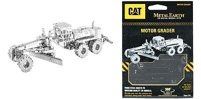 Motor Grader Planierer CAT 3D-Metall-Bausatz Silver-Edition Metal Earth 1421