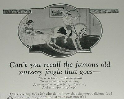 1922 Post Toasties advertisement, nursery rhyme, rocking-horse