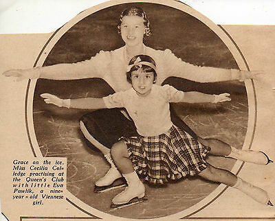 1936 * Miss Cecilia Colledge Ice Skater & Eva Pawlik 9 Year Old Viennese Girl