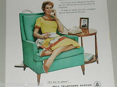 1958 Bell Telephone advertisement, Housewife, sexist, wife relaxing after chores