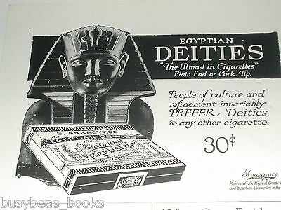 1920 Egyptian Deities CIGARETTES advertisement, S. Anargyros, sarcophagus