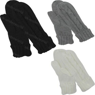 Ladies Cable Knitted Thinsulate Insulation Thermal Lined Mittens Winter Warm