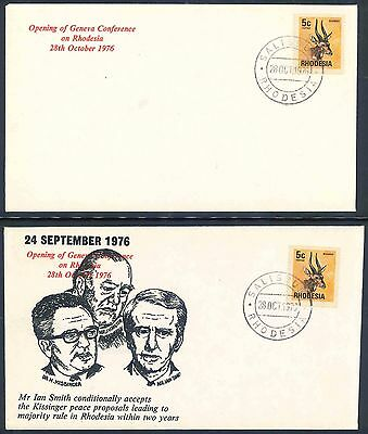 """Rhodesia 1976 """"Opening of Geneva Conference"""" First Day Covers x (2)"""