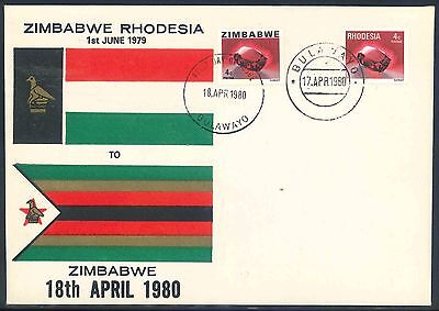 Rhodesia Zimbabwe 1980 Last and First Day illustrated Flags Cover