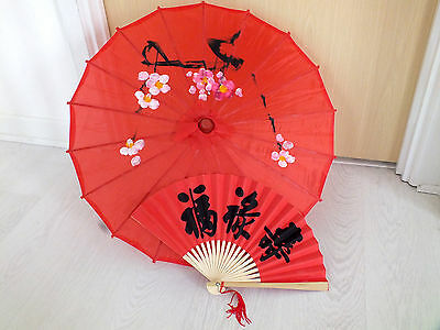 Japanese S Red Parasol Red Black Luck Hand Fan Umbrella Chinese New Year Party