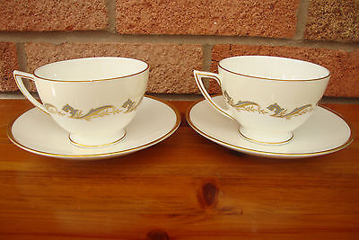 2 Vintage Minton Gold Laurentian Cups and Saucers