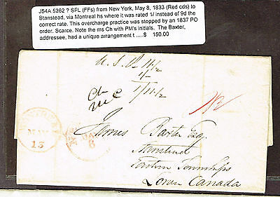 "Canada Portsmouth Ship Letter ""city Of Toronto"" Cancel 1836 Canada Co Wax Seal"
