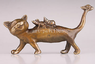 Bronze Statue Lovely Classic Cartoon Cat Mouse Figurine Vintage Collectable Old