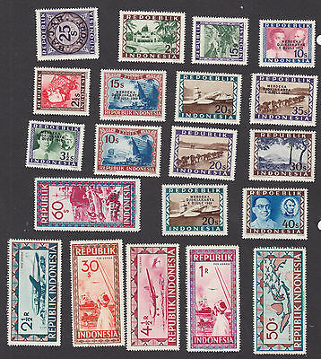Indonesia, Over 150 Different Stamps, Eight Pages  F-Vf Mint Never Hinged