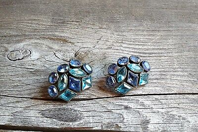 Old Vintage Costume Clip Earrings Blue Stones 1""