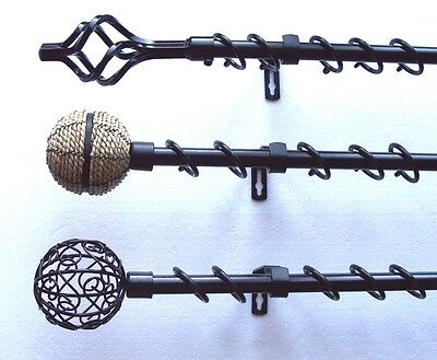 16/19mm Extendable Telescopic Black Curtain Pole 1.2 - 2.1m Cage Rope Ball Ends