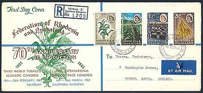 """Rhodesia & Nyasaland 1963 """"Tobacco Congress"""" illustrated First Day Covers x (2)"""