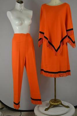 vintage 60's Gino Paoli Italy wool 3 pc set pants poncho skirt FRINGE Orange!