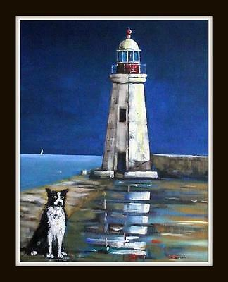 """Collie & The Lighthouse Original Marine Oil Painting by Kevin Corroue 16"""" X 12"""""""