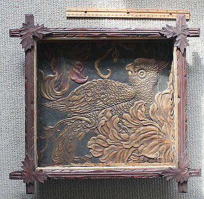 Rare & Unusual Antique Victorian Shadowbox/Embossed Parrot or Eagle/1860s-70s