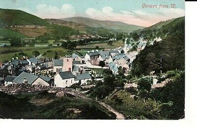 1910 CORWEN from W - view of houses surrounded by fields/hills, Valentine's