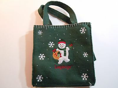 Longaberger Holiday Small Snowman Tote Bag