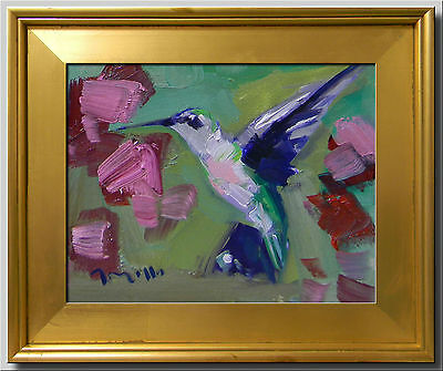Jose Trujillo Framed Hummingbird Modern Oil Painting Plein Air - Made To Order