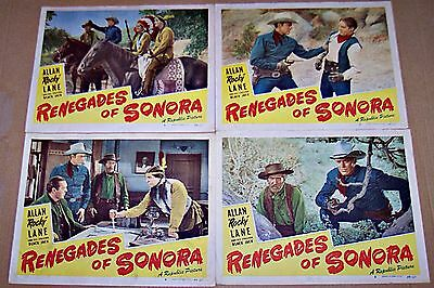 Renegades Of Sonora (1949) Allan Rocky Lane Western Lot Of 4 Orig Lobby Cards