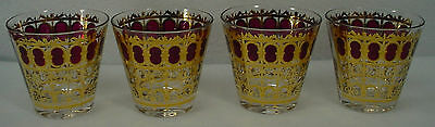 CULVER crystal CRANBERRY SCROLL pattern OLD FASHIONED GLASS 8 oz. set of FOUR