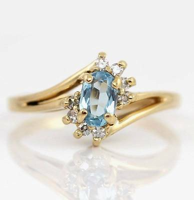Solid 14K Yellow Gold Blue Topaz Diamond Ring Size 6.5