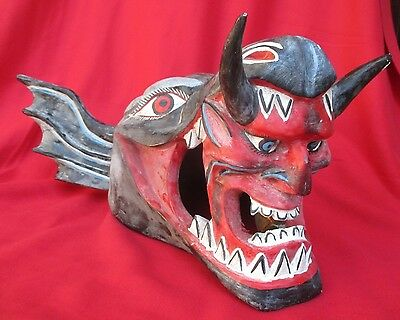 Mexican Folk Art Outrageous Carved Mask ~ Demon Dog With Devil Head In Mouth