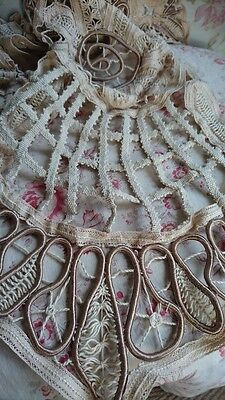 SWEET ANTIQUE FRENCH LINEN & SILK COIL LACE CURTAIN BORDER EDGE VALANCE 1930s