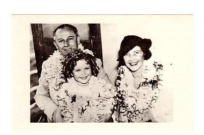 Postcard Shirley Temple Child With Parents Leis