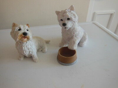 Castagna Two Resin West Highland White Terrier Dogs Ornaments 6'' X 5''& 4''x4''