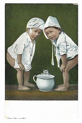 Vintage  Postcard Two Children on Potties with Cat Undivided Back