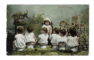 Multi Babies Vintage  Fantasy Postcard Children  Potties  Undivided Back