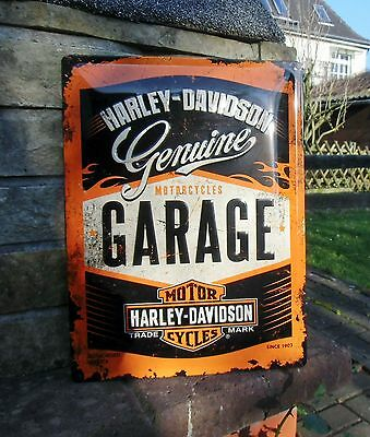 Official HARLEY-DAVIDSON Motorcycles GARAGE since 1903 Embossed LARGE Wall Sign
