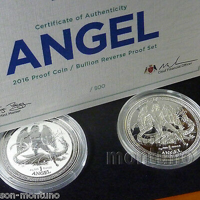 2016 Isle of Man PROOF & REVERSE SILVER ANGEL 2 COIN SET - ONLY 500 - UK BREXIT