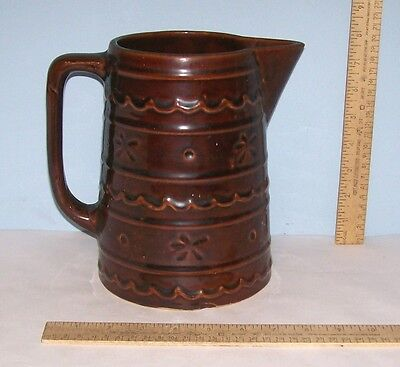 Marcrest Stoneware Pitcher - Brown - Daisy Dot pattern - 8 inches Tall