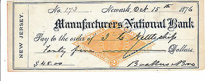 1876 Manufacturers National Bank, Newark, New Jersey  With  Revenue Stamp