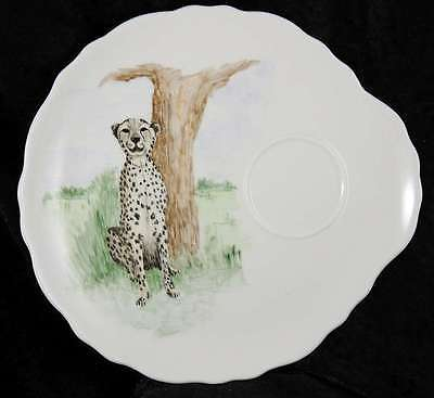 Bone China tea cup & biscuit plate Hand painted in 1972 cheetah big cats