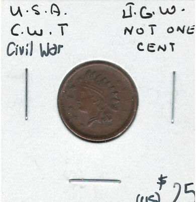 United States USA Civil War Not One Cent Token