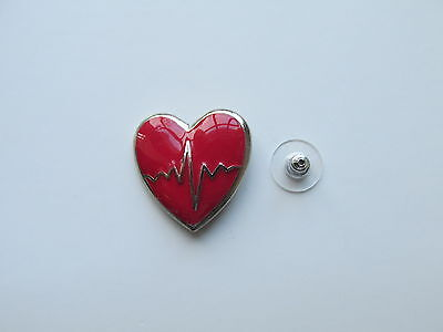 24 ENAMEL RED HEART Disease Awareness PINS on cards FREE SHIP heart health  nice