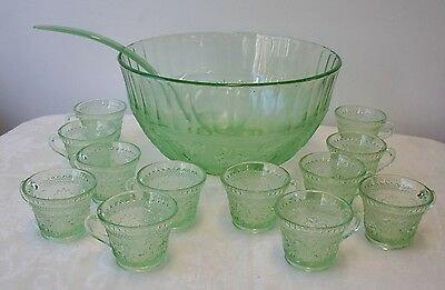 Tiara Chantilly Green Punch Bowl Set Punch Bowl 12 Cups Ladle Sandwich Glass