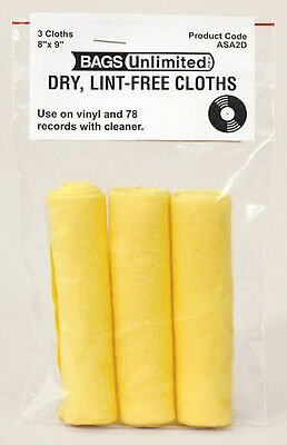 Bags Unlimited Asa-2D Record Cleaning Cloth-3Pk - Accessories